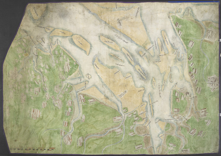 Chart of the mouth of the River Thames, c1540